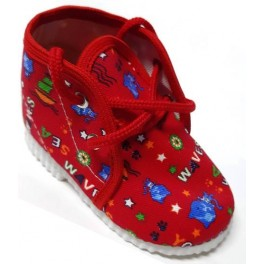 šnurovacie papučky červené  pismenka