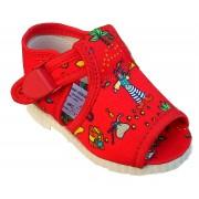 otvorené papučky s klipom červené piráti