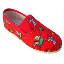 gumičkové papučky červené piráti